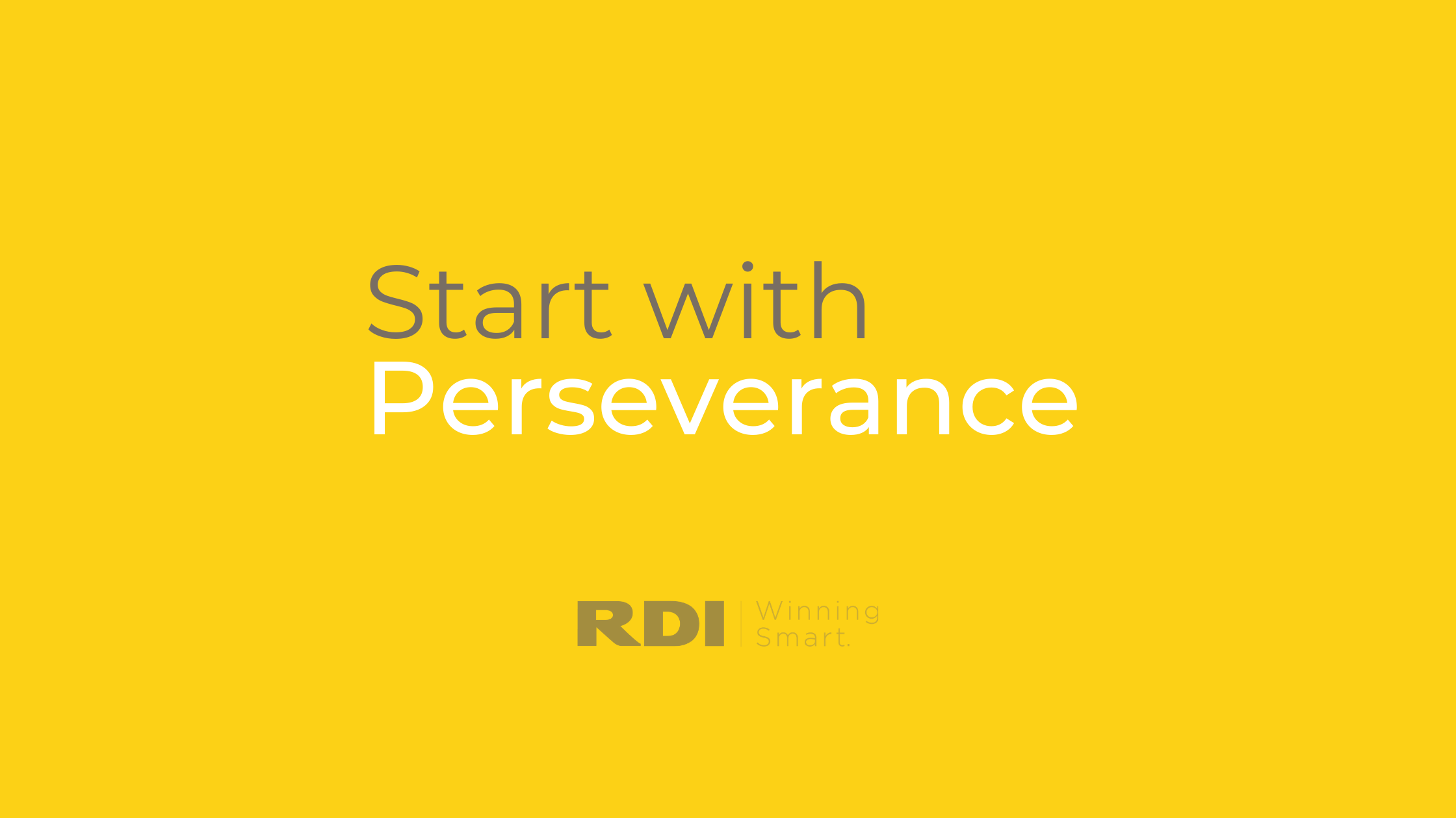 RDI Corporation blog - start with perseverance